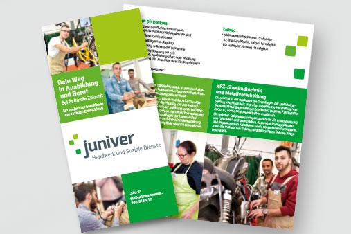 juniver Bereichs-Flyer für die Maßnahmen in Handwerk und Sozialen Diensten