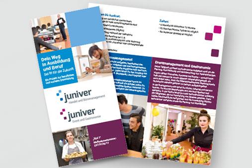 juniver Bereichs-Flyer für die Maßnahmen in Büromanagement und Event